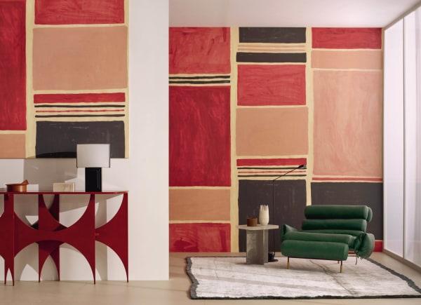 """Das Duo Porter Teleo erdachte diese kühne Farbfeldmalerei in wie schwebend wirkenden Formen. Die US-Amerikanerinnen sind erfahren im komplexen Prozess, Pigmente in hochdeckende, leuchtende Töne zu verwandeln. Ihr expressiver Entwurf heißt """"Outside the Box""""."""
