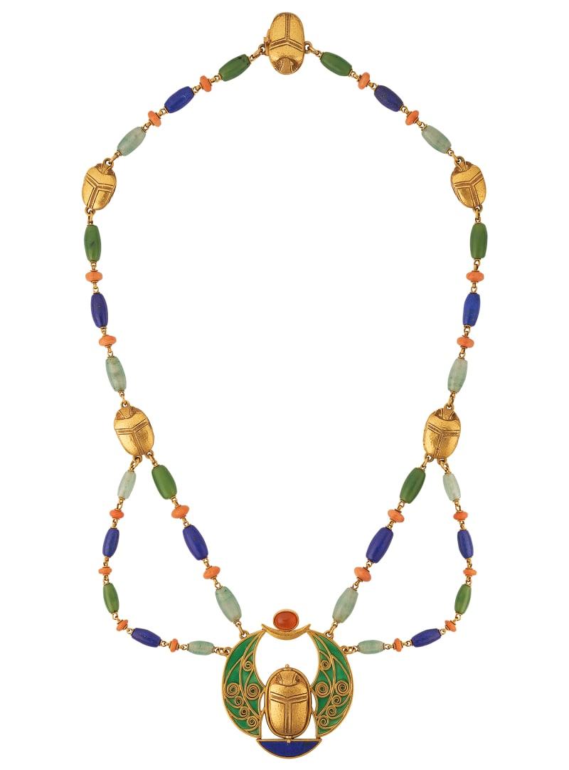 """Marcus & Co., """"Halskette aus Gold-Skarabäen und Edelsteinen"""""""