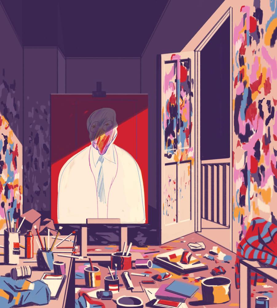 Francis Bacons bekritzelt die Wände seines Ateliers