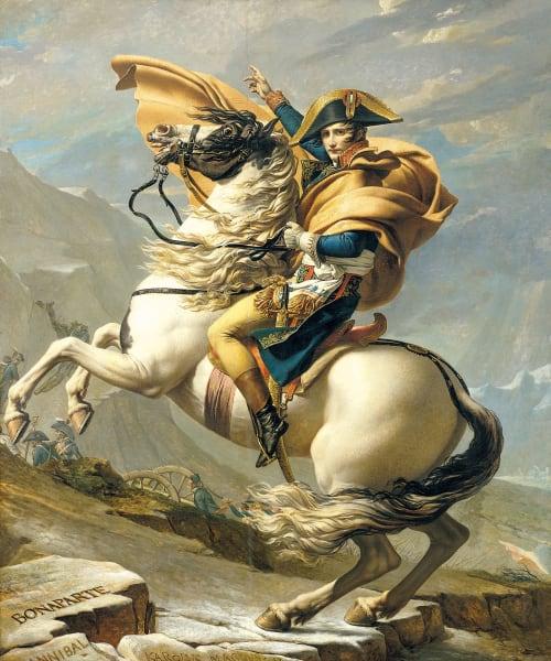 """Gipfelstürmer: Jacques-Louis Davids Gemälde """"Napoleon, die Alpen überschreitend""""."""