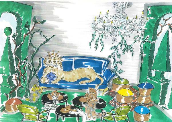 """Narnia? Nein, das sind die Chroniken von Vincent Darré mit Sofa """"Contour"""" von Paul Mathieu, Tischchen """"Tosco"""" von Trussardi Casa und Pouf """"Aida"""" von Fendi Casa."""