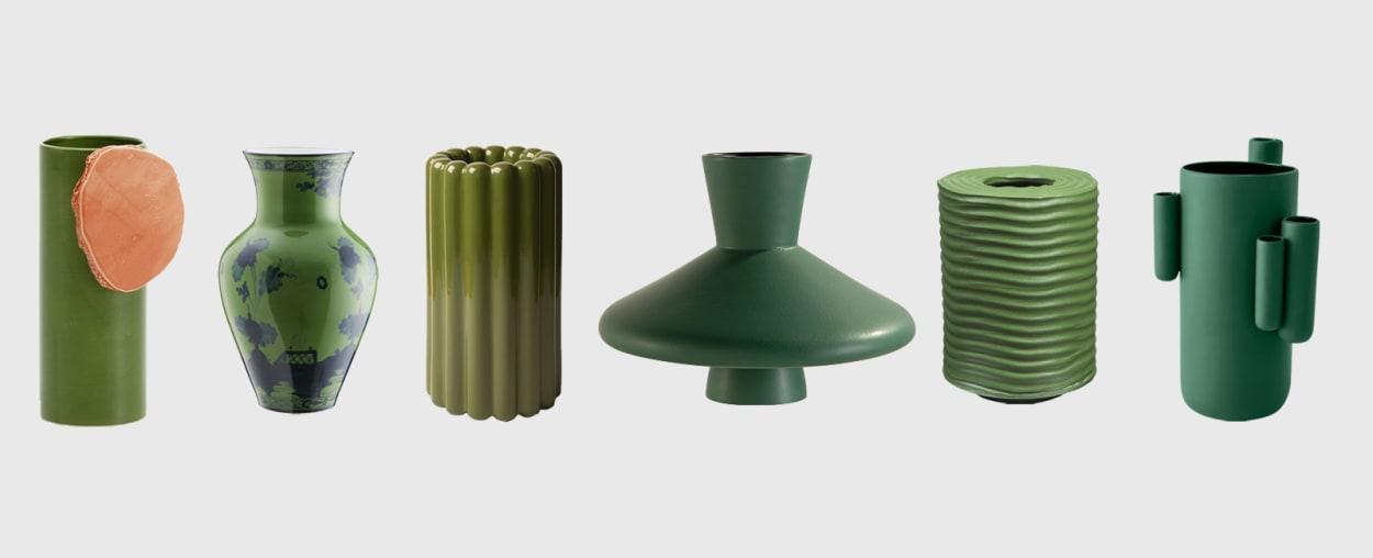 Sechs grüne Vasen
