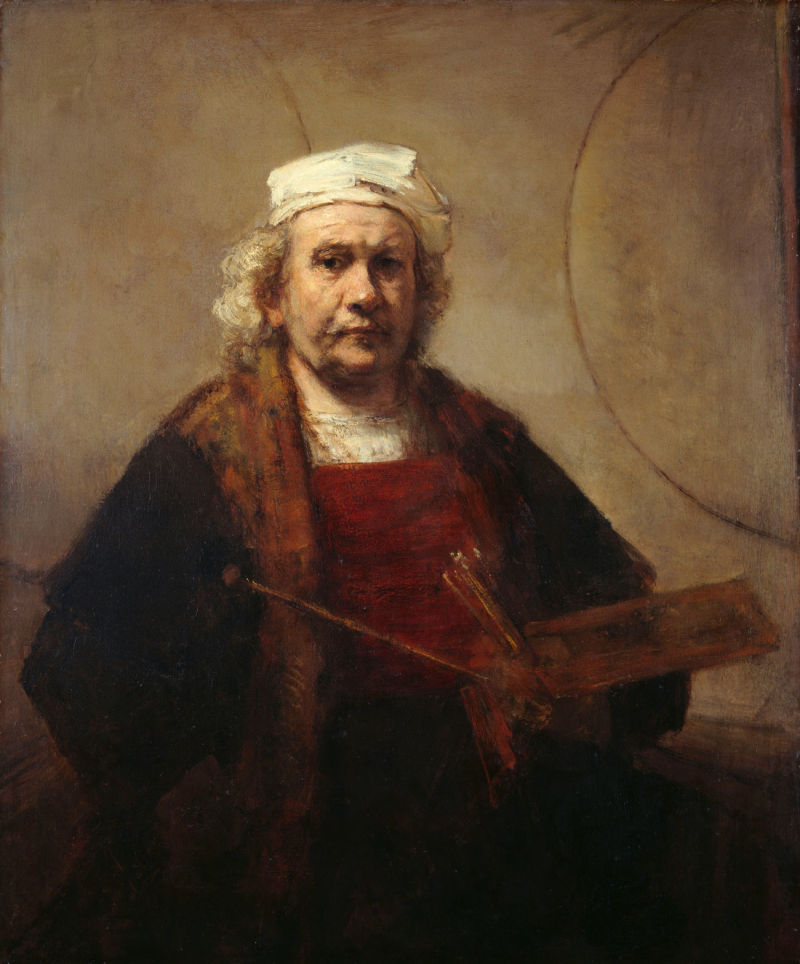 Self portrait with two circles, Rembrandt Harmensz. van Rijn, c. 1665-1669