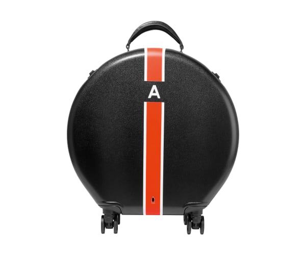 Ookonns runder Rollkoffer, 320 Euro, lässt sich mit Initialen personalisieren.