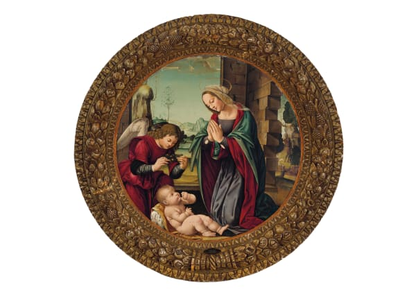 "Lorenzo di Credi, ""Madonna und der Engel mit dem Christuskind"", Tondo, Durchmesser 88,9 cm, Tempera auf Tafel. Aus der Auktion ""Old Master Paintings"" am 29.10.2019. Schätzpreis: 400.000 – 600.000 Dollar, christies.com"