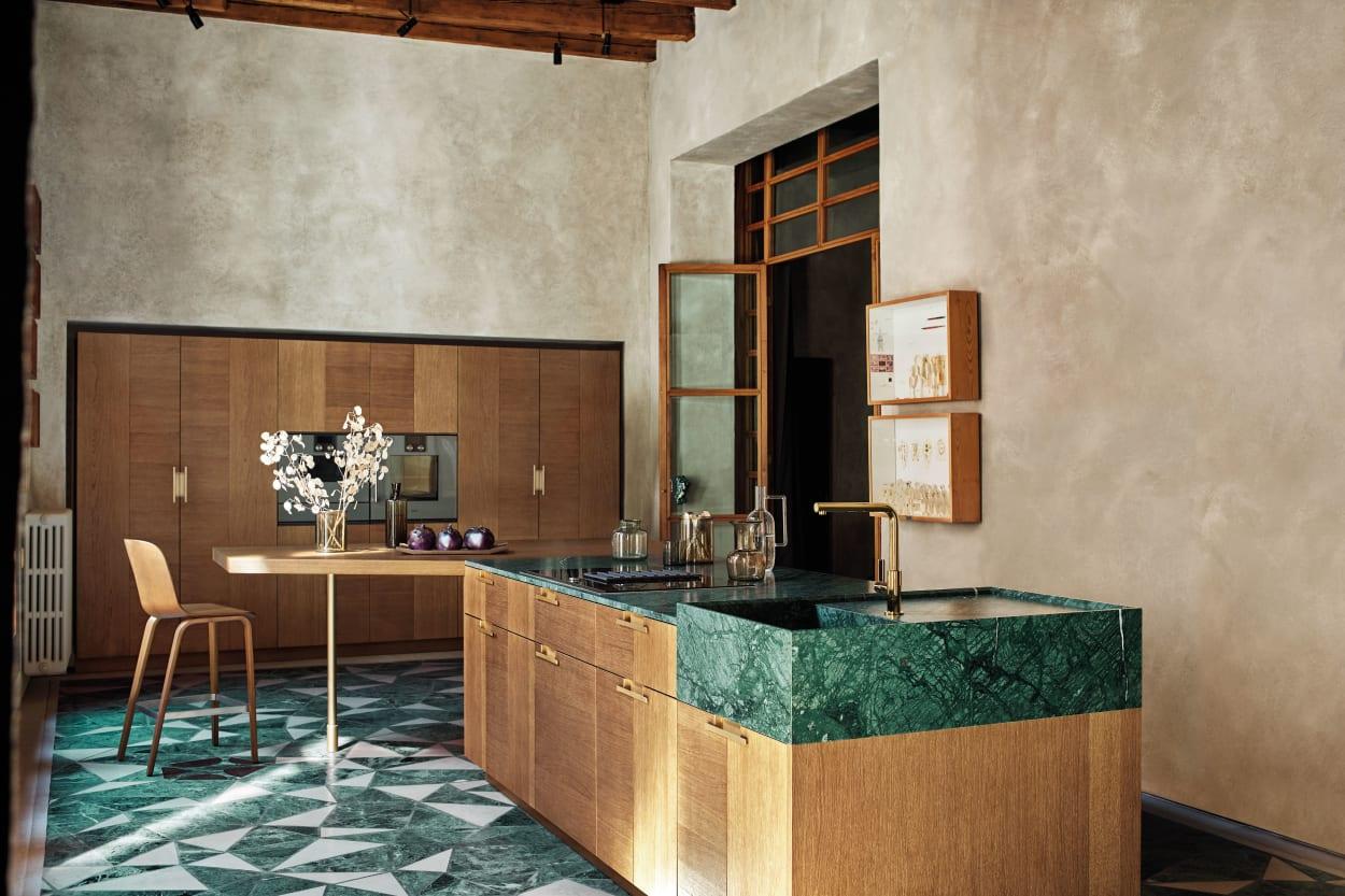"""Küchenprogramm """"Intarsio"""" von Cesar in """"Rovere Mediterraneo"""", Marmor"""