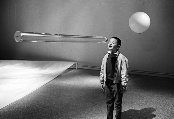 "Child eyeing Hans Haacke's Large Water Level, 1964–65. Installation view: ""Miscellaneous Notions of Kinetic Sculpture,"" Hayden Gallery, Massachusetts Institute of Technology, Cambridge, 1967"