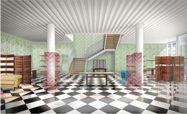 Interiorentwurf der Prada-Boutique.