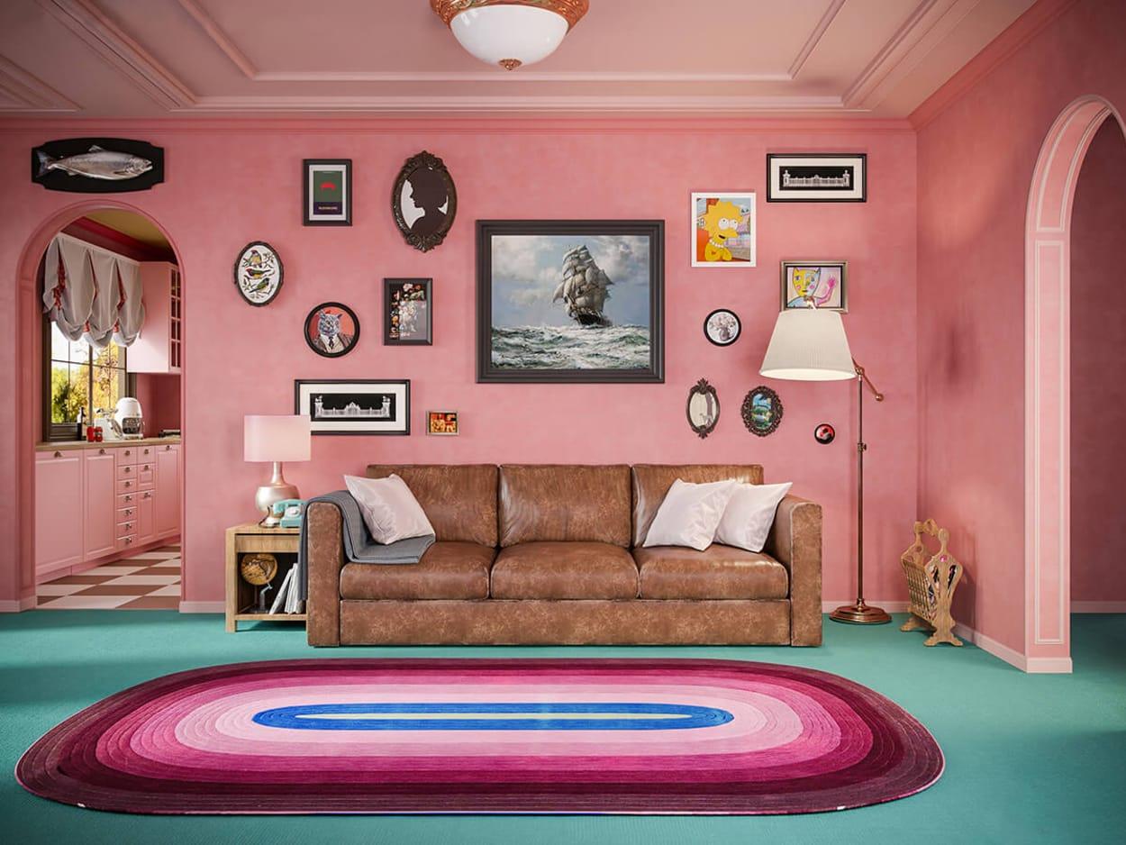 Das Wohnzimmer der Simpsons, wenn Wes Anderson es designt hätte.