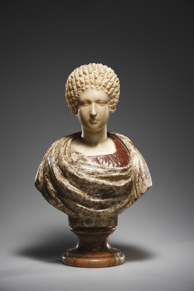 Porträtbüste einer Frau, Carrara-Marmor, Büste Rosso Antico, 16.-17. Jh. Porträt römisch, flavisch, 2. Hälfte 1. Jh.n.C.
