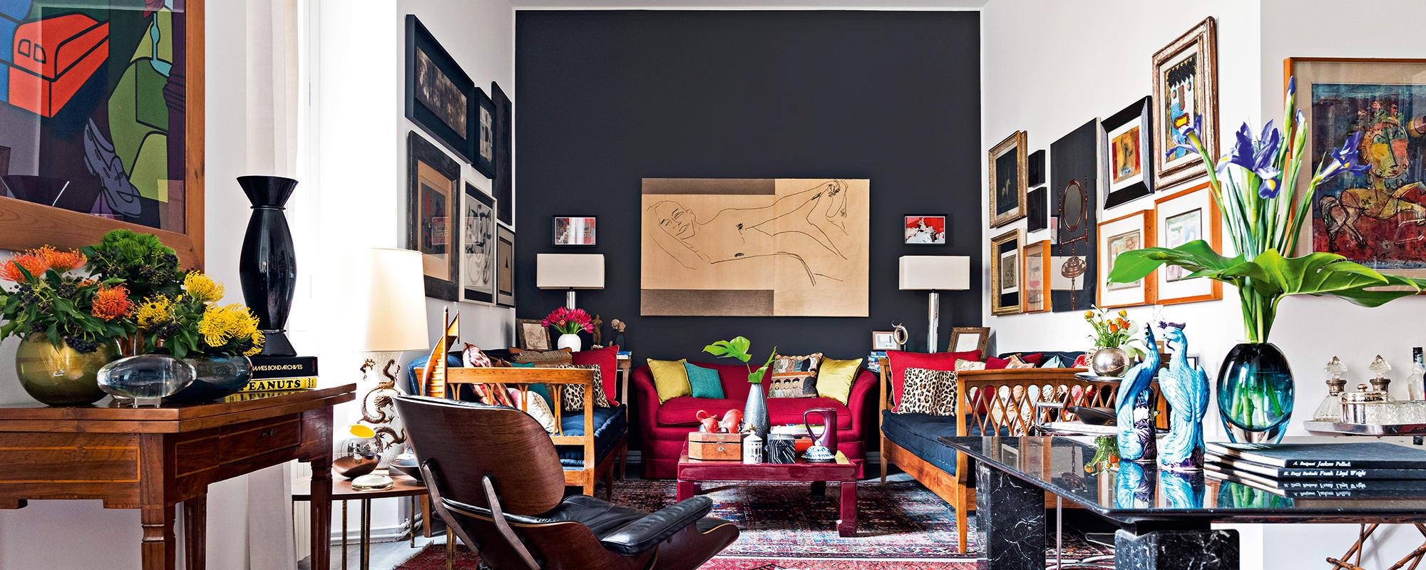 Interiordesign, Nicola Resta, Wohnzimmer, Kunst, Eames, Lounge Chair, Esstisch, Marmor, Giulio Cappellini