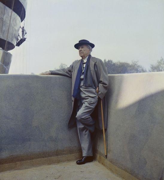Frank Lloyd Wright im Solomon R. Guggenheim Museum, 1959.