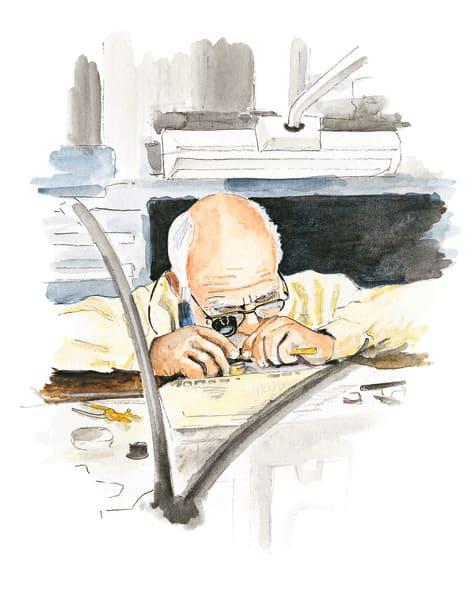 Geduldsübung: An einem einzigen Modell mit Minutenrepetition arbeitet        ein Uhrmacher bei Patek Philippe monatelang. Bevor sie an den oft        sehnsüchtig wartenden Käufer geht, prüft Präsident und Inhaber Thierry        Stern jede Uhr auf Klangdauer, Tonhöhe und Harmonie des Zusammenspiels.