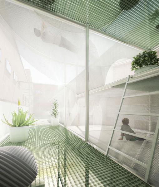 Im Inneren ist Platz für bis zu drei Personen. Durch die flexible, transparente Außenhaut dringt viel Tageslicht in den Innenraum.