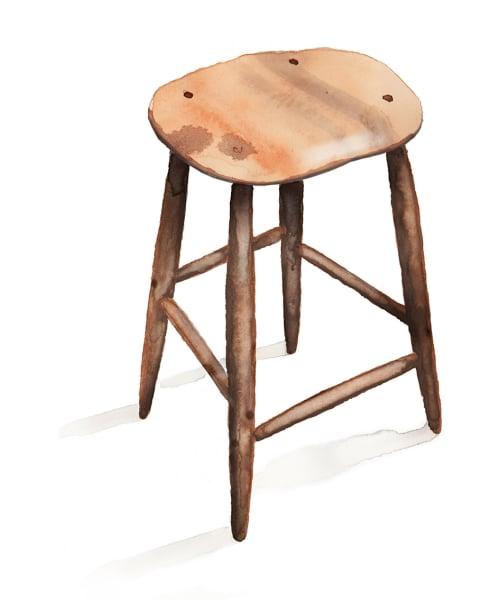 Ob Möbel oder Löffel– bei jedem Stück Holz, das Fabian Fischer bearbeitet, sucht er die Seele des Materials. Hocker aus Nussbaum ab 380Euro.
