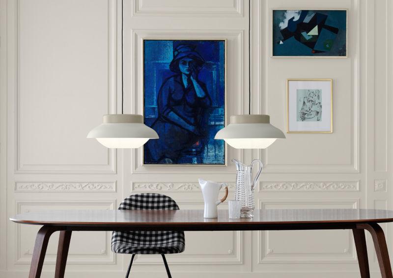 Collar_lamps_sand_Gubi_table_elliptical_walnut_Gubi_chair