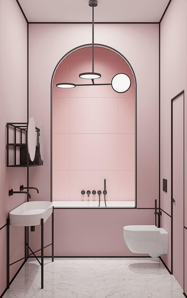 Cooler Traum in Rosa: Bad-Steckbrief für einen Entwurf mit Kanten der New Yorker Designer Crosby Studios