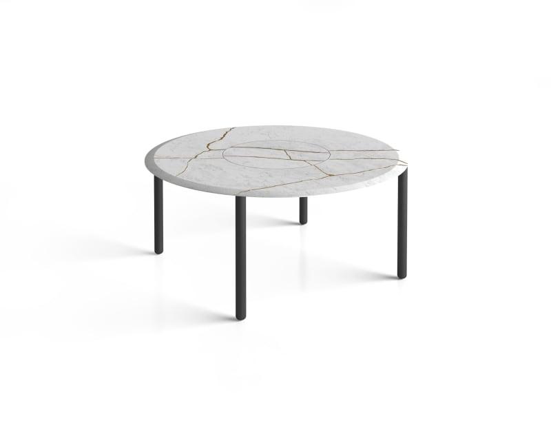 Runder weißer Marmortisch in Kintsugi-Technik von Salvatori