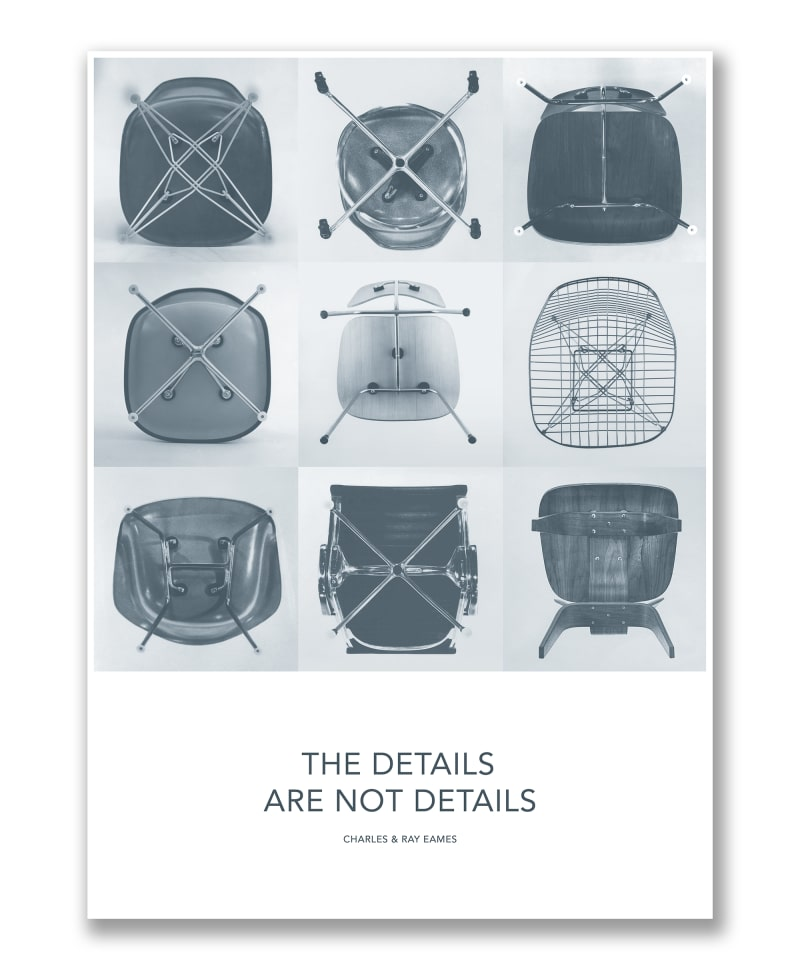 Plakat mit Stühlen von Ray und Charles Eames.