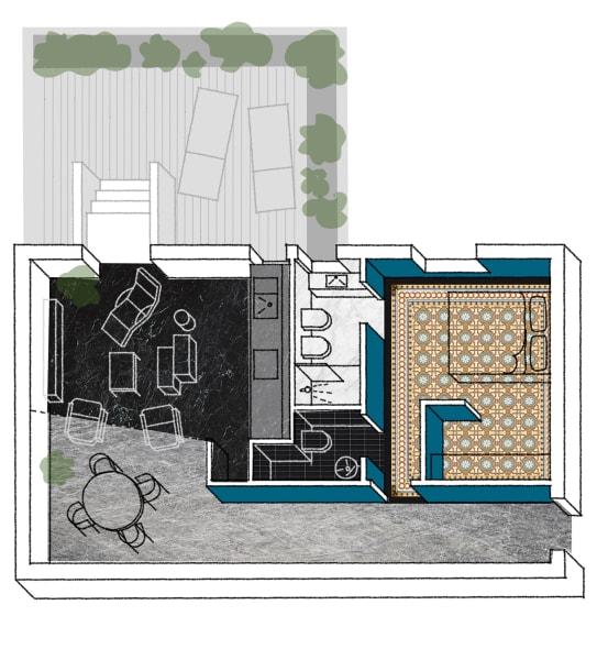 Der Grundriss der 75 Quadratmeter Wohnung.
