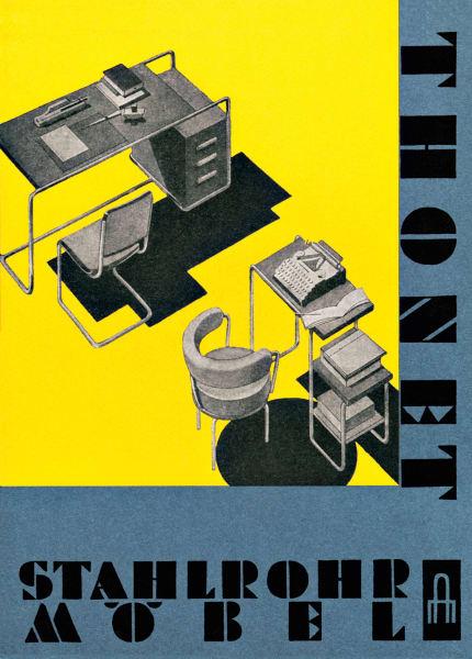 Starke Partnerschaft: Seit 1929 produziert Thonet die Stahlrohrmöbel von        Mart Stam, Marcel Breuer und Ludwig Mies van der Rohe. In den        Farben des Bauhaus zeigte sich auch der Titel des Steckkartenkatalogs        von Thonet von 1930 / 1931.