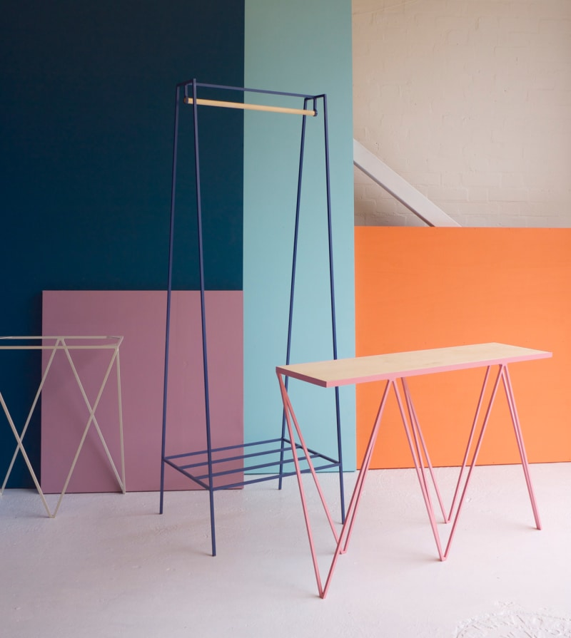 Pink-Giraffe-Console-Table-with-Blueberry-'A'-Clothes-rail-from-www.andnew.co