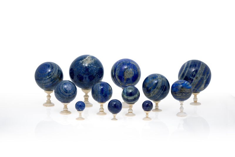 2.Set of 12 Lapis Lazzuli spheres with Ivory bases
