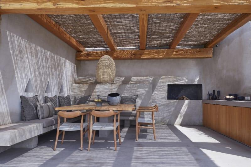 Outdoor-Küche mit Essplatz auf Mykonos