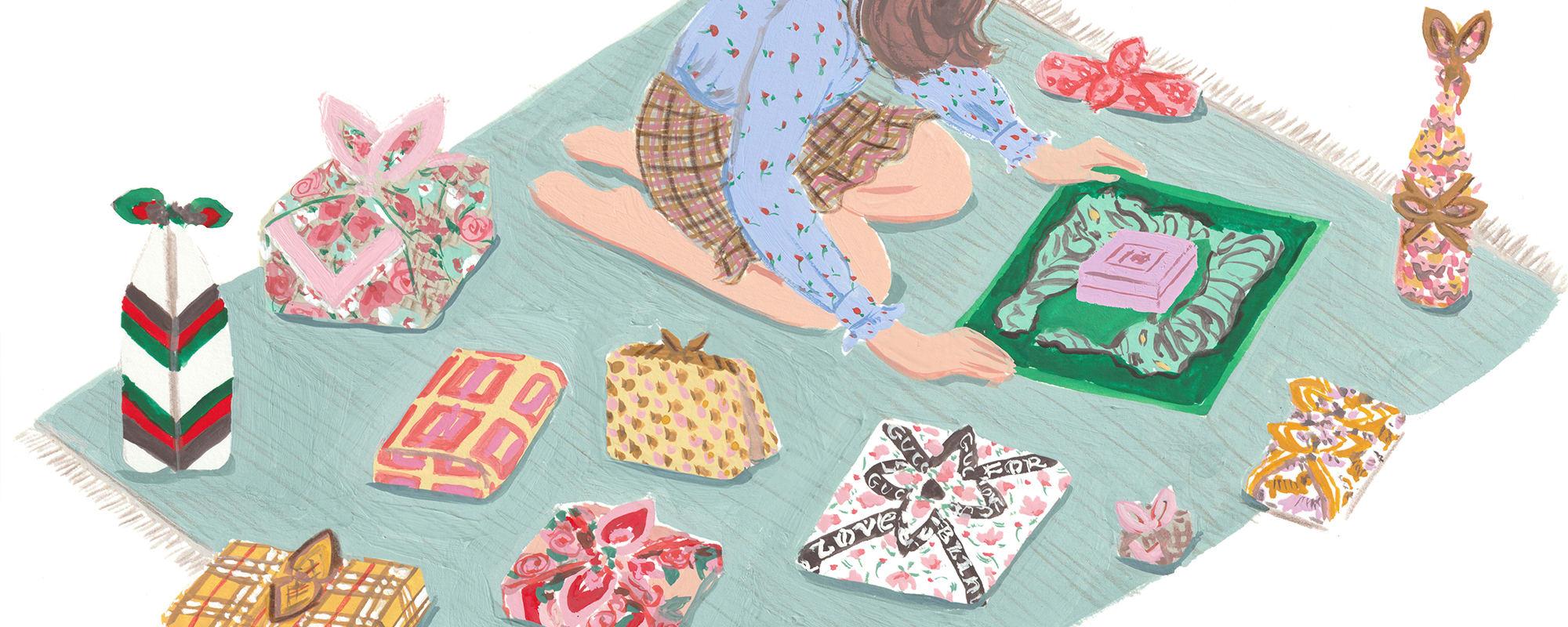 Giftwrapping, Furoshiki, Jaqueline Diedam, ADventskalender, Geschenke einpacken, Inspiration, Hermès, Gucci, Golce&Gabbana, Tuch, Tuchgeschenk, Geschenk,