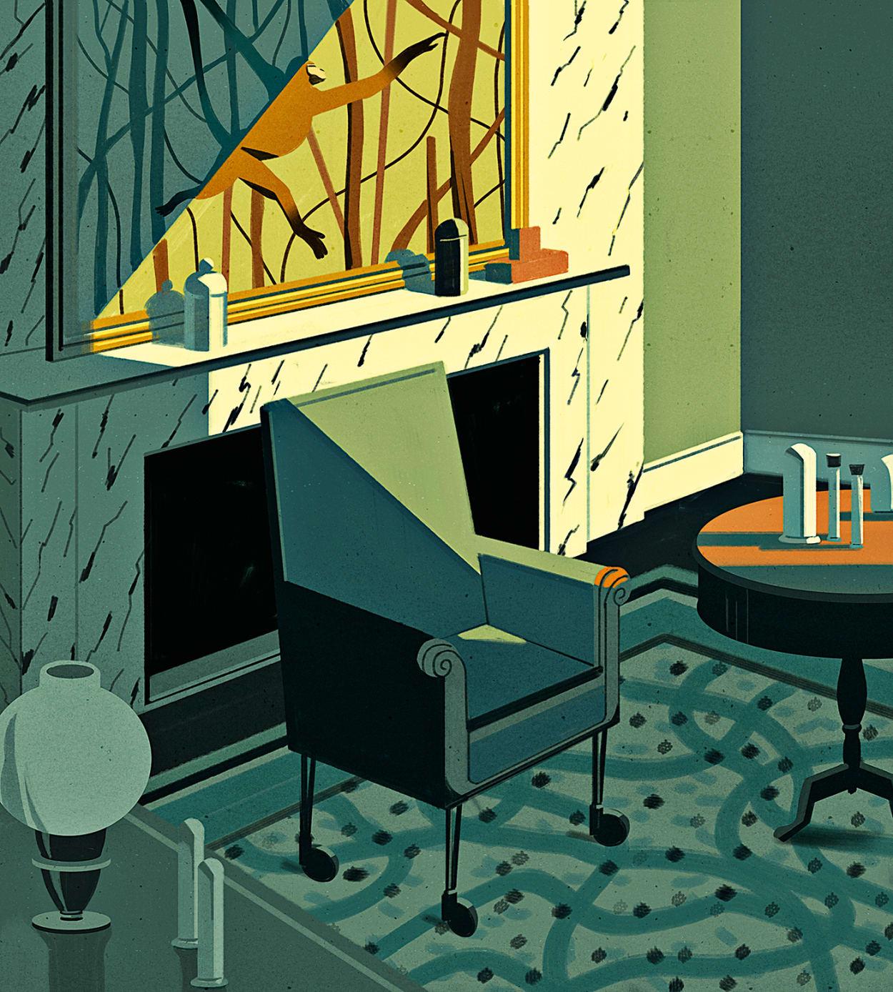 Darwin, Bürostuhl, Illustration, Landhaus