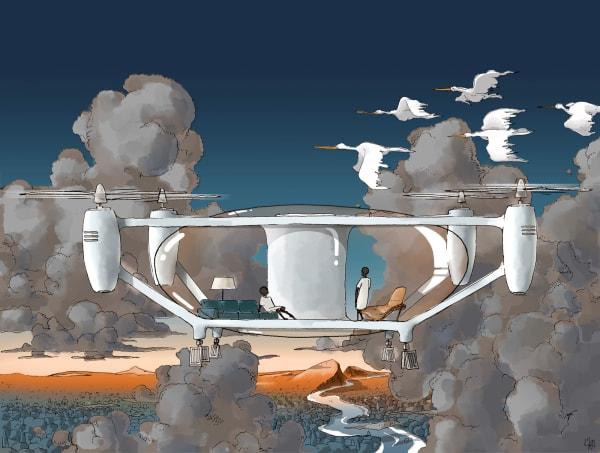 Wohnutopie oder zukunftsweisend? Das Architekturbüro Palomba Serafini Associati hat ein mobiles Drohnenhaus entworfen, das sich überall hinbewegen kann.