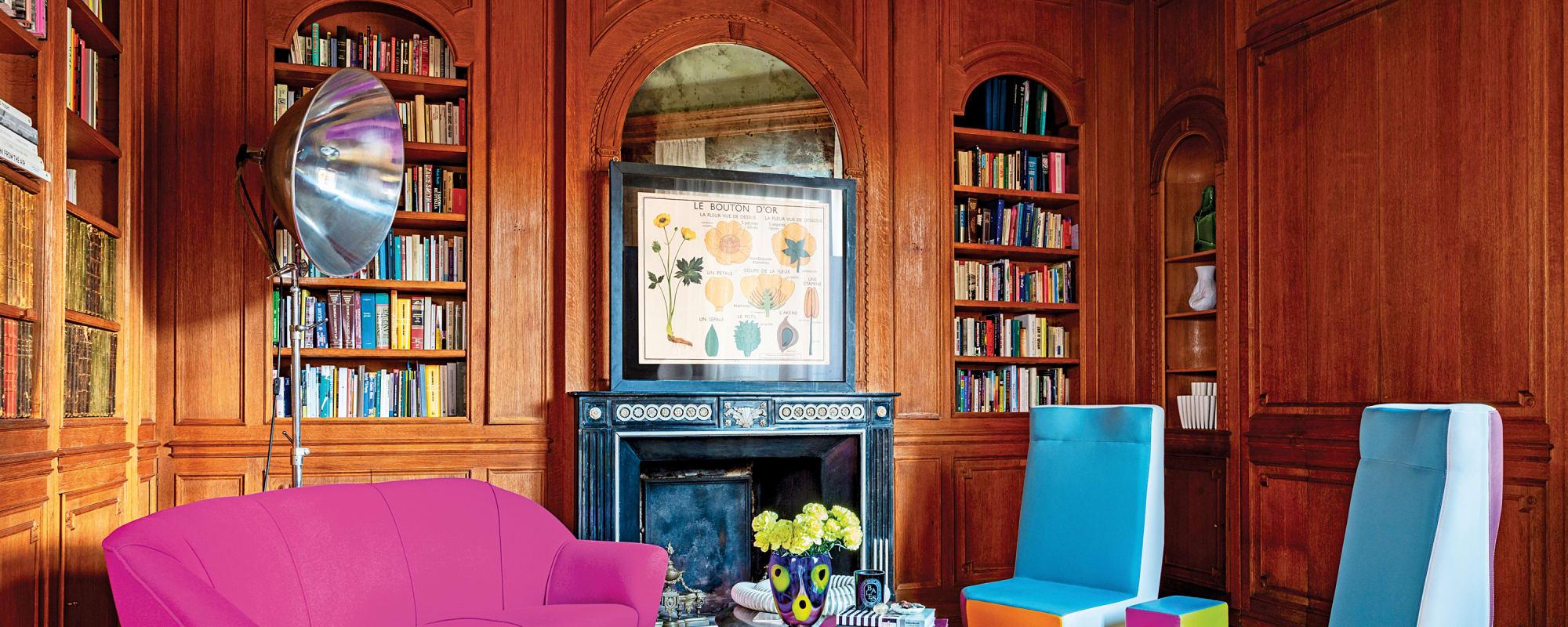 Bibliothek mit Vintage-Sofa, Wollstoff von Kvadrat