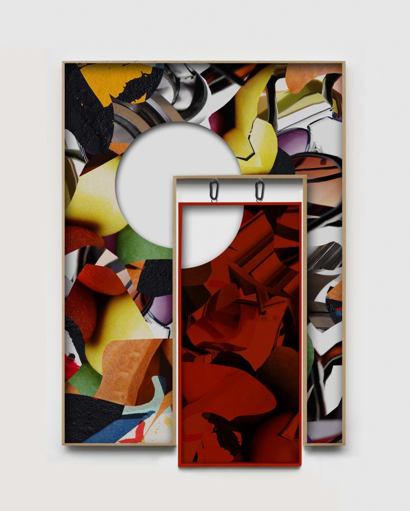 Kate Steciw, Composition 014, 2014, C-Print, Custom Oak Frame, Mixed-Media