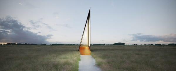 """Skulptur aus Stahl und Licht: """"A Chapel"""" von Predrag Vujanovic."""