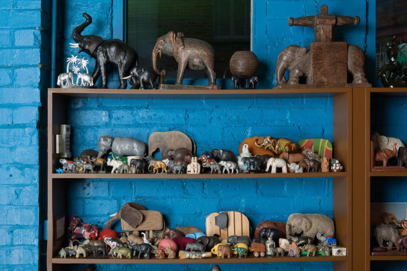 Elephant figurines from the collection of Peter Blake..