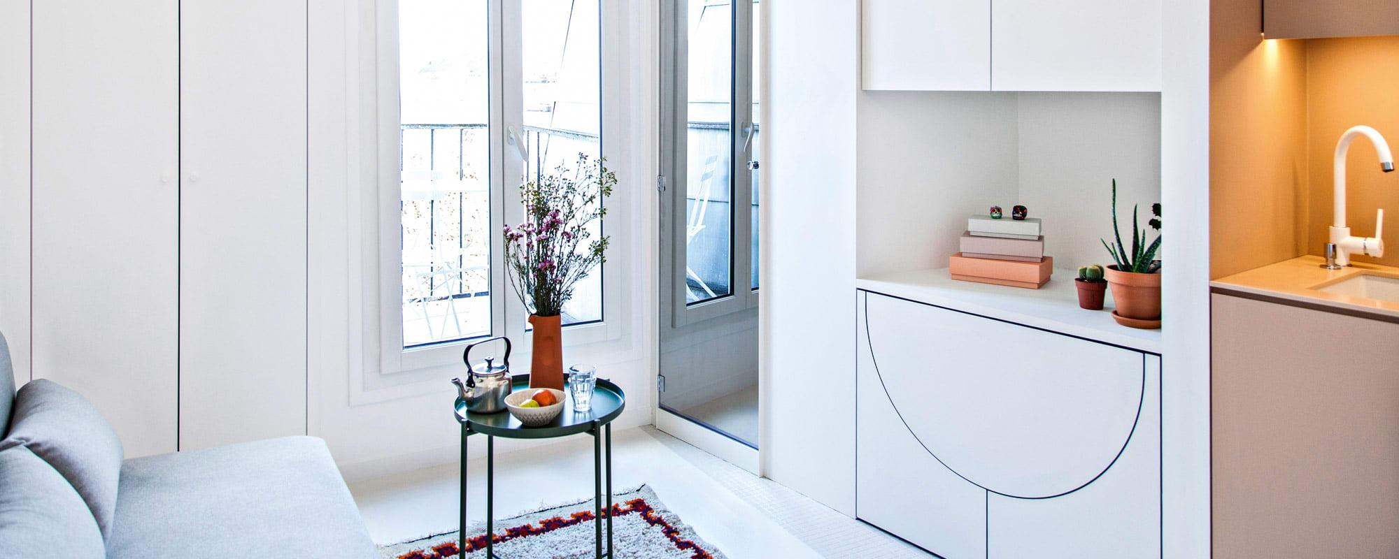 Dachapartment , Rebecca Benichou, Batiik Studio Ferienwohnung, Paris, wohnen auf kleinem Raum, Microliving