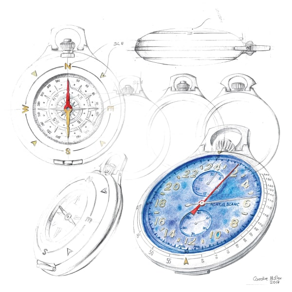 "Skizzen der ""1858 Pocket Watch Limited Edition 100"""