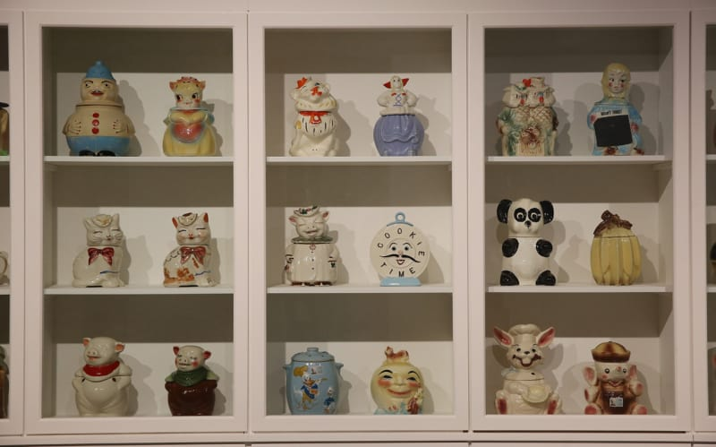 Andy Warhols Cookie jars collection. Installation images: Magnificent Obsessions. The Artist as Collector Barbican Art Gallery.