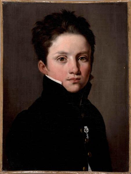 """Louis-Léopold Boilly,""""Portrait eines kleinen Jungen mit der Décoration du Lys"""",Nach 1814,Öl auf Leinwand, 22 cm x 17 cm."""