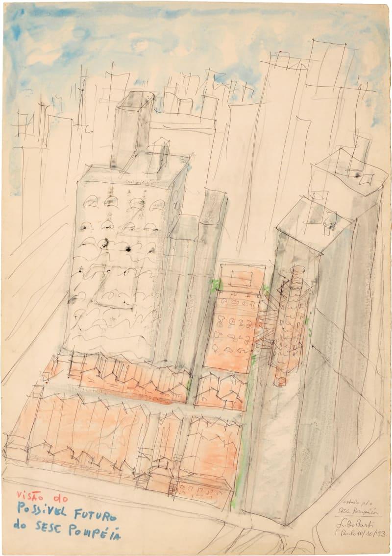 Lageskizze für das SESC – Fabrica da Pompeia, São Paulo, Zeichnung von Lina Bo Bardi, 1977