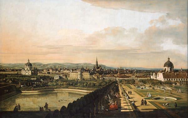 """Bernardo Bellotto, genannt Canaletto, stand im nordwestlichen Pavillon im ersten Stockwerk des Oberen Belvedere, als er """"Wien, vom Belvedere aus gesehen"""" 1758/61 malte."""