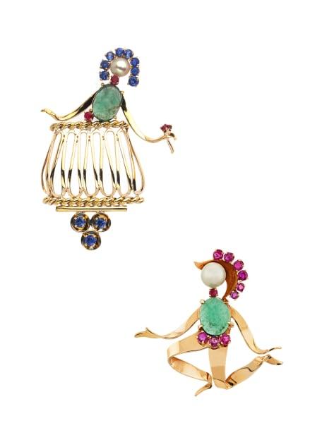 """""""Romeo und Julia"""", Van Cleef & Arpels, 1951, zwei Broschen aus Gelbgold, Smaragden, Saphiren, Rubinen und Perlen, Patrimoine-Kollektion, Preis auf Anfrage,vancleefarpels.com."""