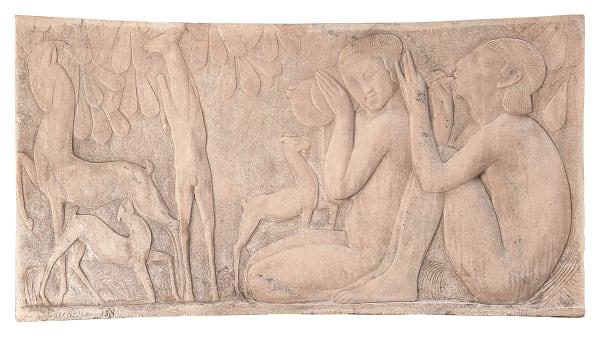 """Léon Indenbaum, """"Die Idylle"""", Bas-relief aus rosa Onyx, 85,5 cm x 162 cm x 7,5 cm, 1914."""