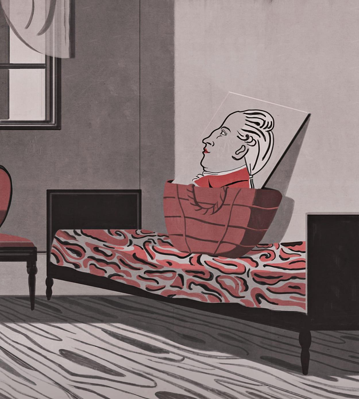 Illustration, Goethe, Korb, Genie