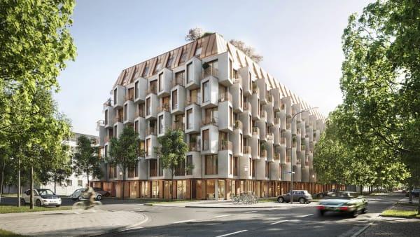 In Bestlage beim neuen Kreativquartier wächst bis zum Spätsommer 2023 diese Stadtskulptur aus kupfern schimmerndem Metall und Glasfaserbeton hervor.