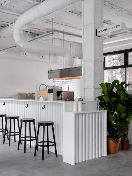 Das Zentrumdes Cafés: die große Kaffeetheke mit gewellter Front.
