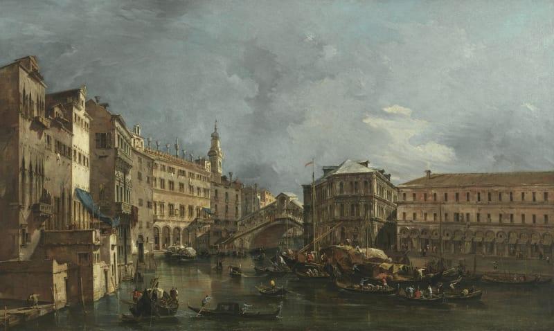 Francesco Guardi (1712-1793), Blick auf den Rialto und den Palazzo dei Camerlenghi, um 1760