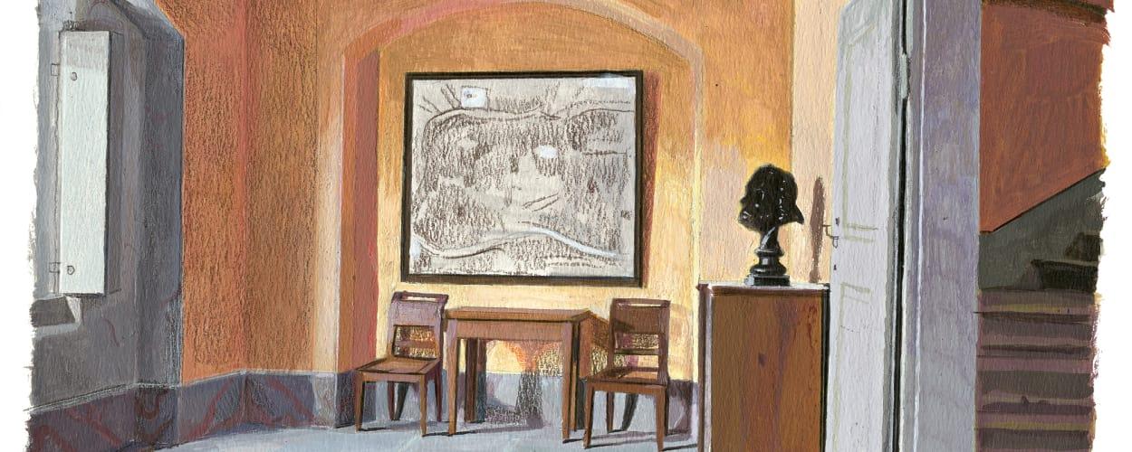 """Seit Goethe hier an seiner """"Italienischen Reise"""" schrieb, hängen im        Esszimmer des Parterres historische Rom-Karten, die ihm als        Gedächtnisstütze dienten."""