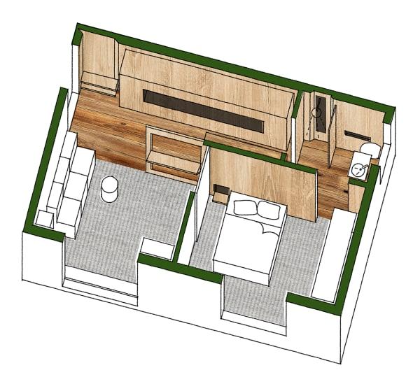 Der Grundriss der 35 Quadratmeter großen Wohnung.