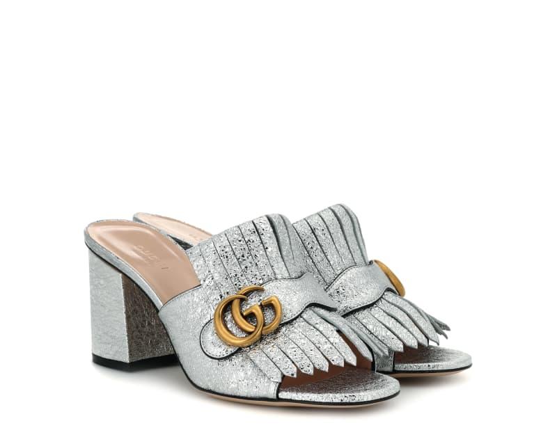 Gucci, Metallic Mules